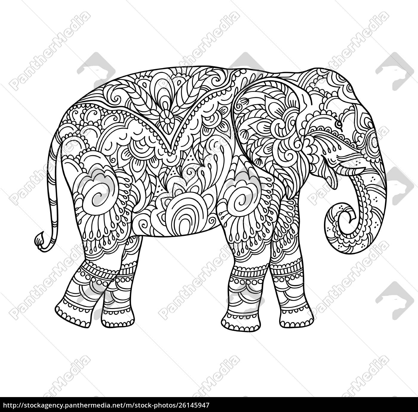 dibujo, zentangle, elefante, para, colorear, libro, para - 26145947