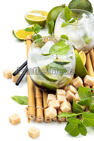 mojito ingredients on white