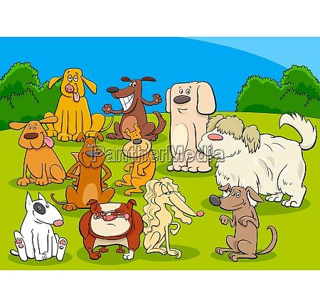 perro grupo de dibujos animados ilustracion