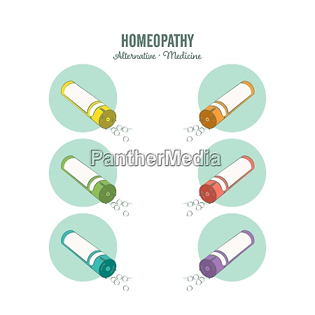 homeopathic medicine line set on a