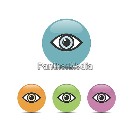 eye icon set on a colored