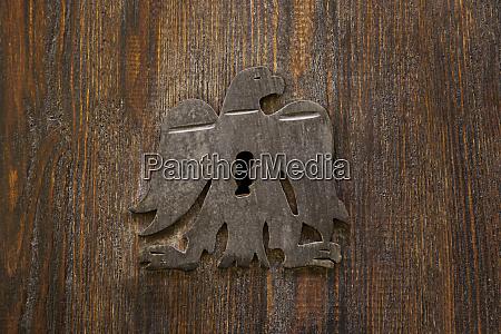old medieval wooden door with lock