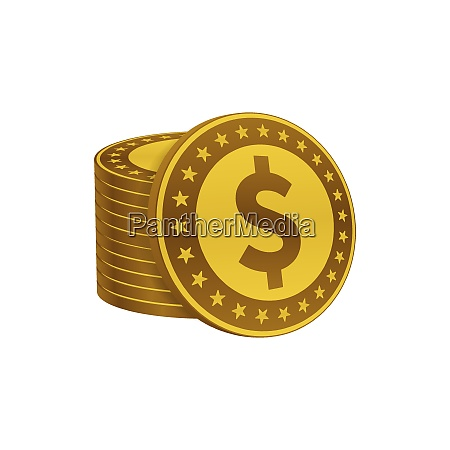 dollar coins stack currency symbols