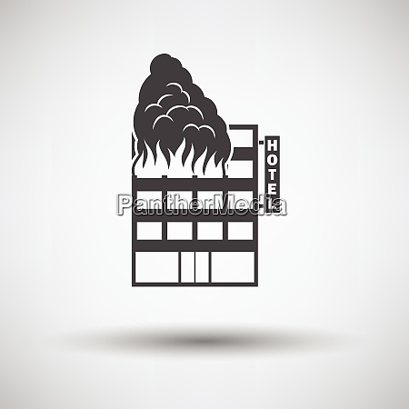 hotel building in fire icon on