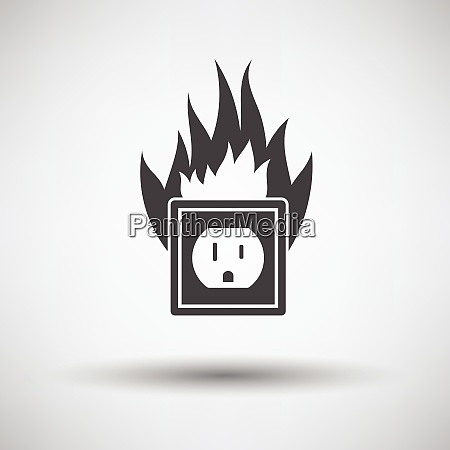 electric outlet fire icon on gray