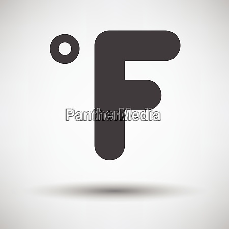 fahrenheit degree icon on gray background