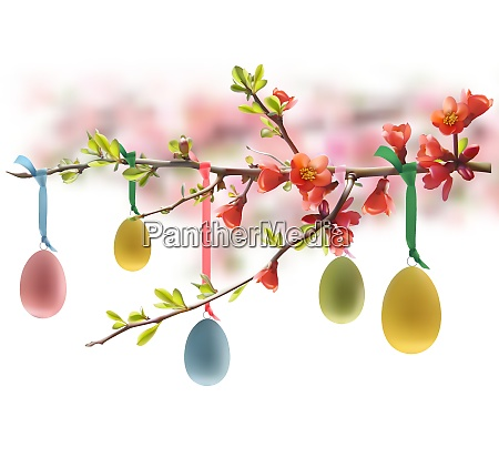 huevos de pascua colgando de la