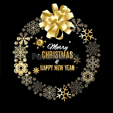 merry christmas and new year gold