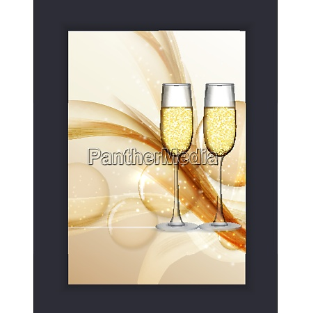 two glass of champagne on glossy