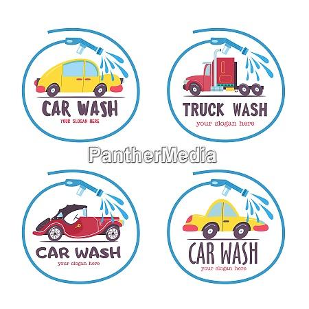 set of emblems of a car