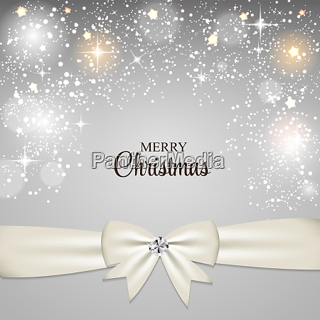 christmas glossy star background with ribbon