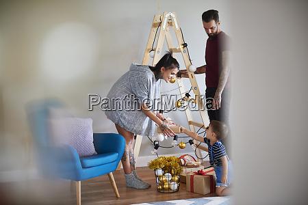 modern family at home at christmas
