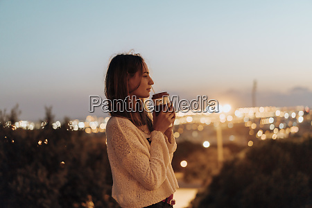 spain barcelona montjuic young woman holding
