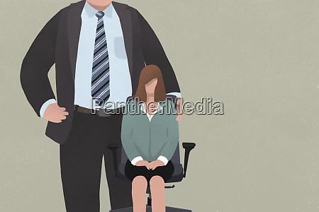 businesswoman sitting in office chair next
