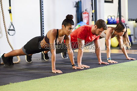 young people exercising plank variations in