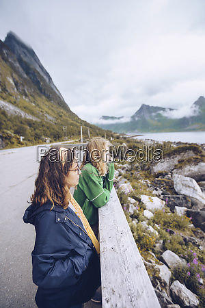 norway senja two young woman standing