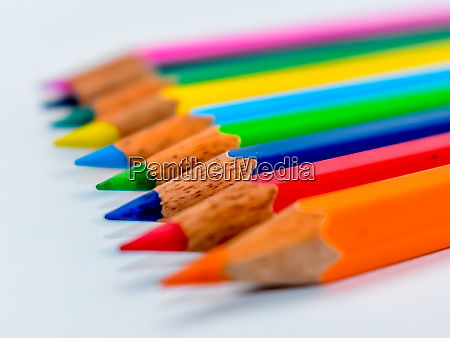pencils lined up in shallow focus