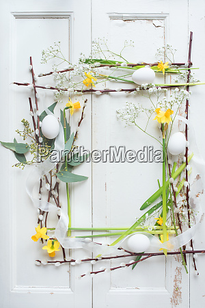 easter decoration on white vintage background
