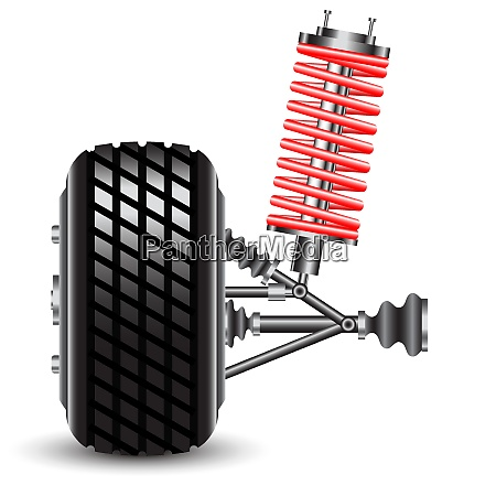 front car suspension vector illustration