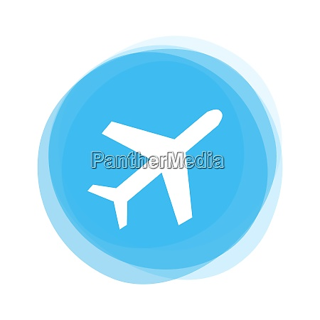 isolated light blue round button plane