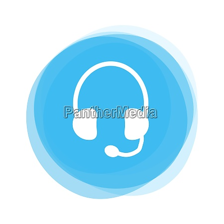 isolated light blue round button headset