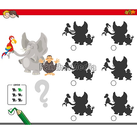 shadows game with cartoon animal characters