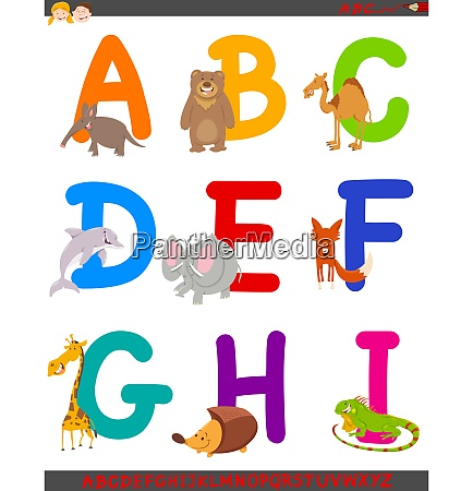 cartoon alphabet with cute animals