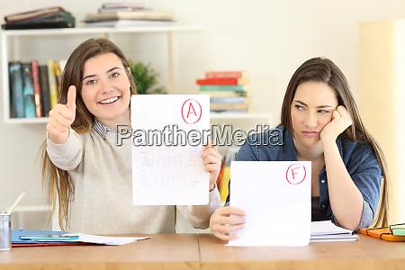 estudiantes con examenes fallidos y aprobados