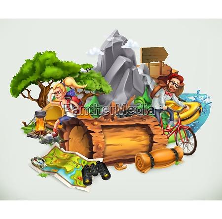 camping y aventura ilustracion vectorial