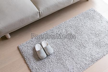 zapatilla beige en la alfombra