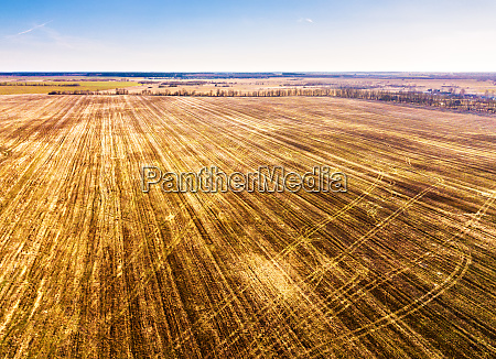 spring rural aerial landscape plowed fields