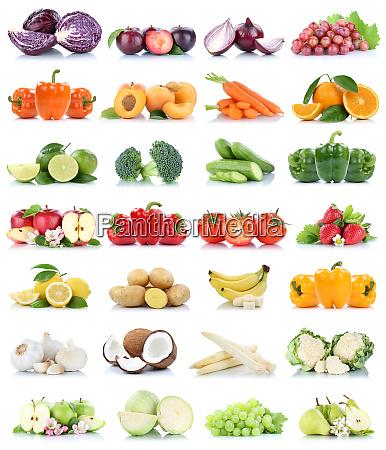 coleccion de frutas y verduras aisladas