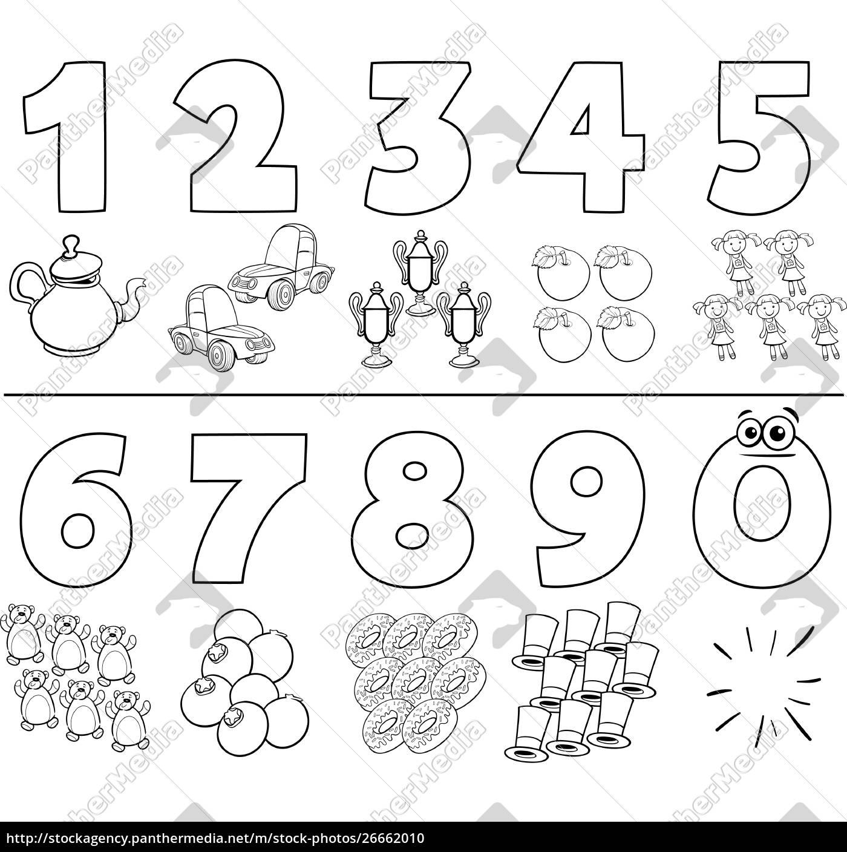Vector Libre De Derechos 26662010 Números De Dibujos Animados Establecer Libro Para Colorear