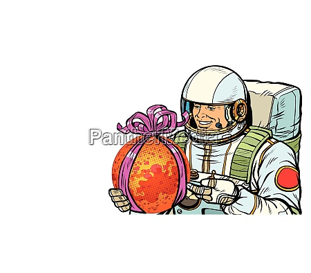 el astronauta le da al planeta