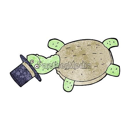 tortuga de dibujos animados en sombrero