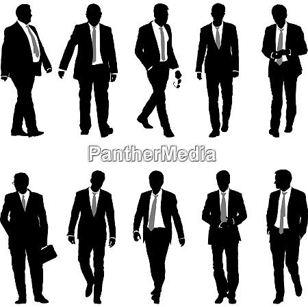 set silhouette businessman man in suit