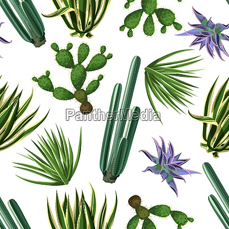 seamless pattern with cactuses and succulents