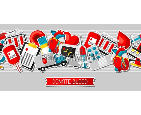 donate blood seamless pattern with blood