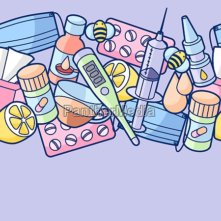 seamless pattern with medicines and medical