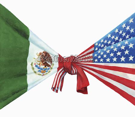 banderas de estados unidos y mexico