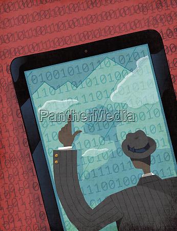 businessman analysing data on large digital