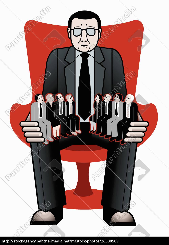 gran, empresario, con, pequeños, empleados, sentados - 26800509