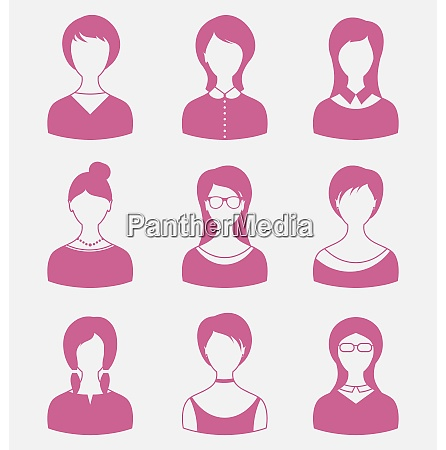 illustration avatars set front portrait of