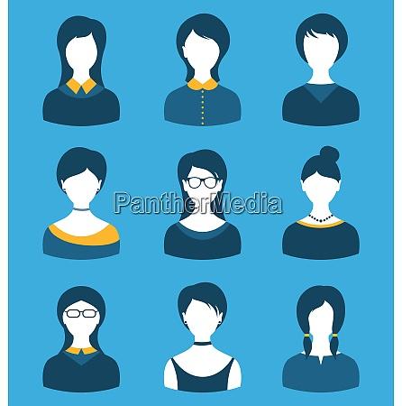 illustration set female characters front portrait