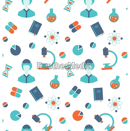 illustration seamless pattern with chemical and