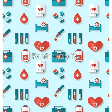 illustration seamless pattern with flat medical