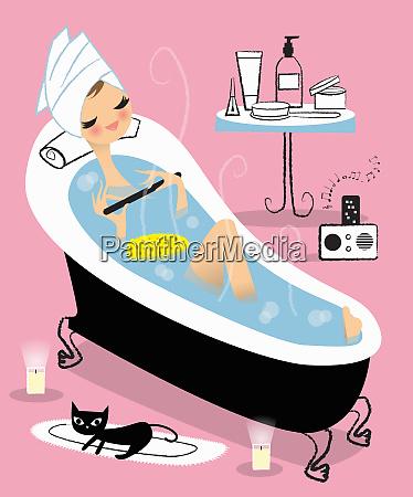 mujer relajante en el banyo