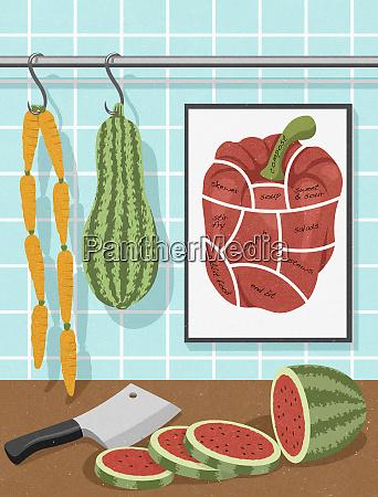 comida vegetariana colgada como carniceria
