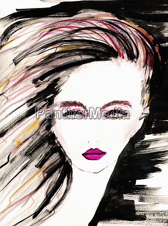 ilustracion de moda de mujer joven