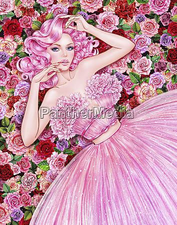 mujer seductora tirada en flores